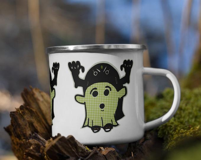 Ghost Patterned Enamel Mug