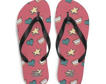 Red Flip-Flops with Cartoon Design