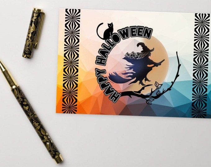 Happy Halloween Standard Postcard with Witch and Cat Design