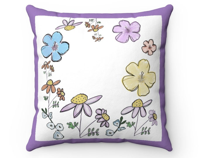 Purple Floral Spun Polyester Square Pillow