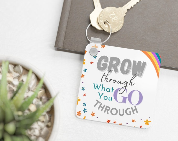 Inspirational Keyring (Floral White with Rainbow Accent), gift for therapy clients, students, friends, siblings, roommates, co-workers, etc.