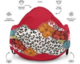 Leopard Print Red Premium face mask