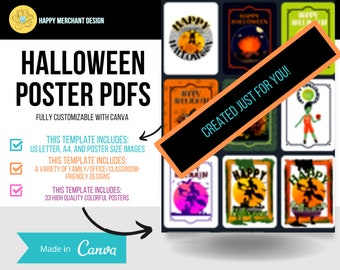 Editable Halloween Posters, Family Friendly Artwork, Digital Download, Canva Template