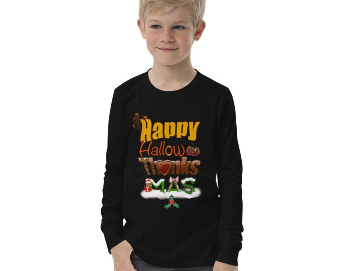 Happy Holidays Youth long sleeve tee, Halloween, Thanksgiving, Christmas