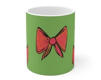 Red Holiday Bow Ceramic Mug 11oz, Christmas 2021, Christmas Gift