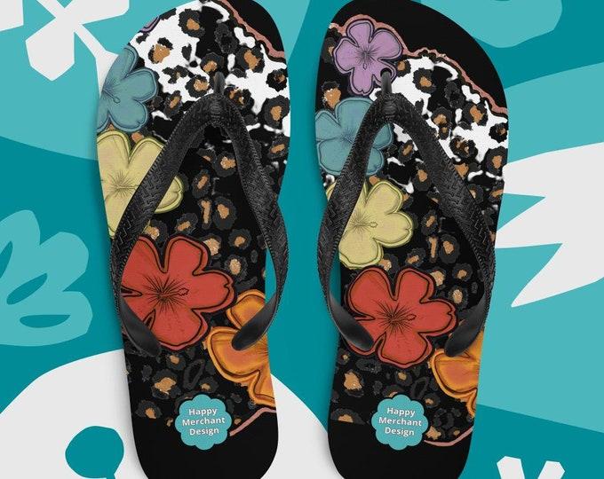 Pride Leopard Print Flip-Flops - Black