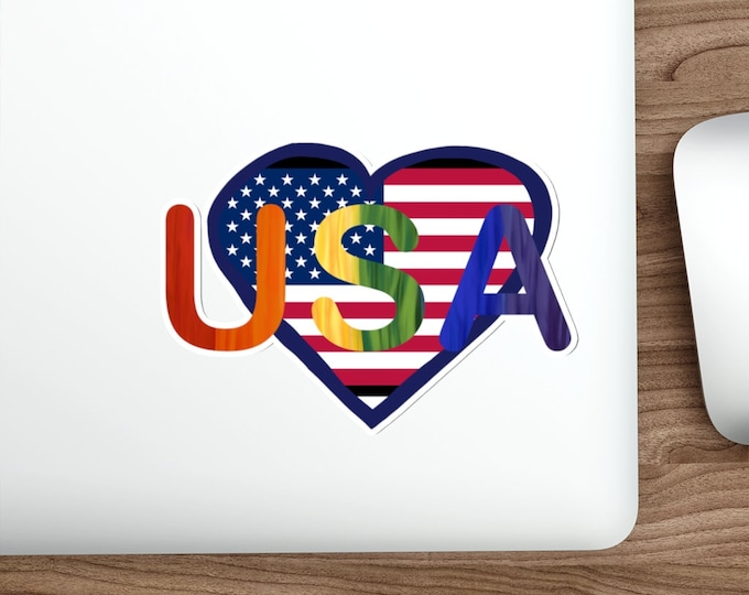 USA Kiss Cut Sticker, Independence Day, Pride