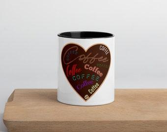 Coffee Heart Mug with Color Inside
