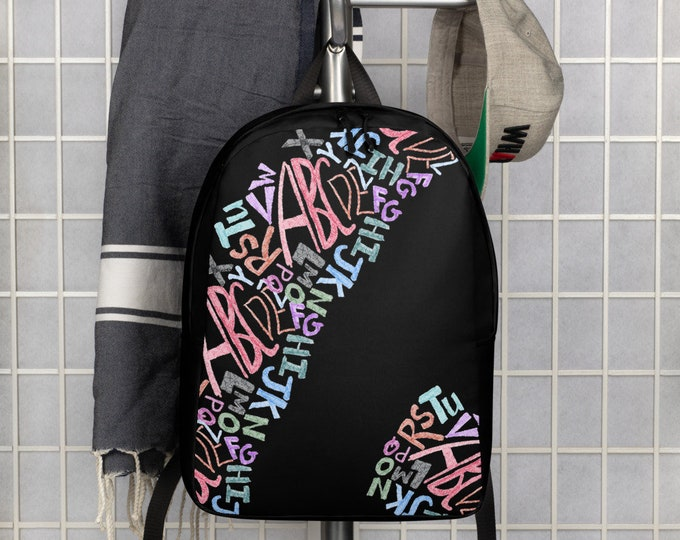 Black Backpack with Multicolored Graffiti