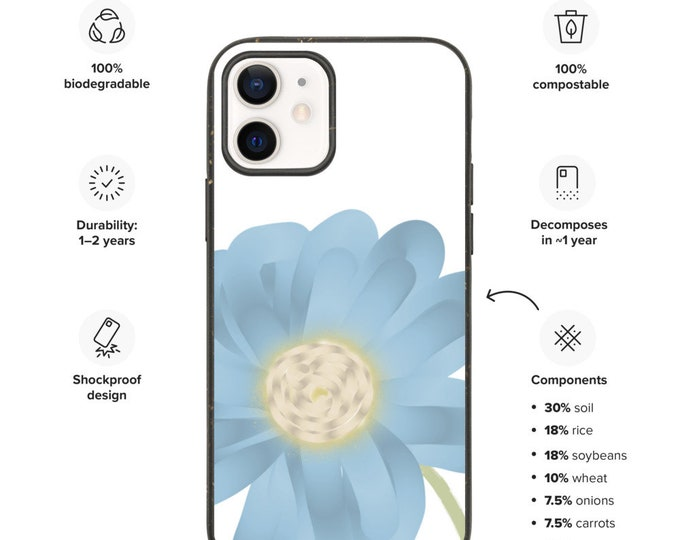 Blue Flower Biodegradable phone case