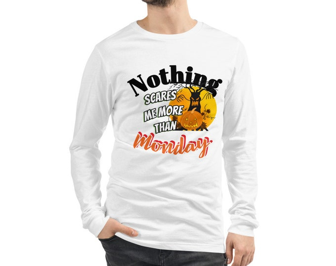 Scary Monday Unisex Long Sleeve Tee, White or Gray