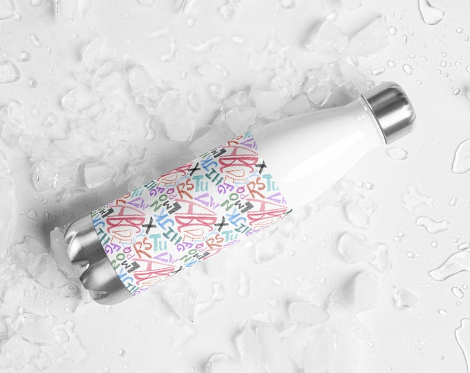 Stainless Steel Water Bottle with Multicolored Graffiti Alphabet Print