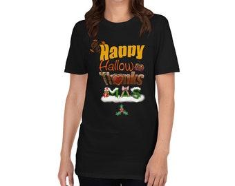 Adult Happy Holidays Short-Sleeve Unisex T-Shirt, Halloween, Thanksgiving, Christmas