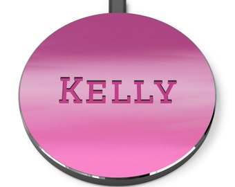 Fuchsia Mist Personalized Wireless Charger