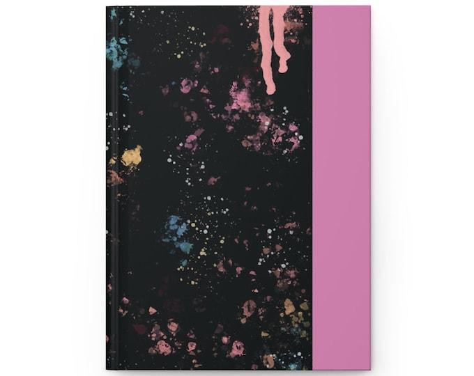 Rainbow Paint Splash Pink Hardcover Journal Matte