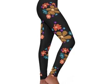 Women's Black Floral Spandex Leggings