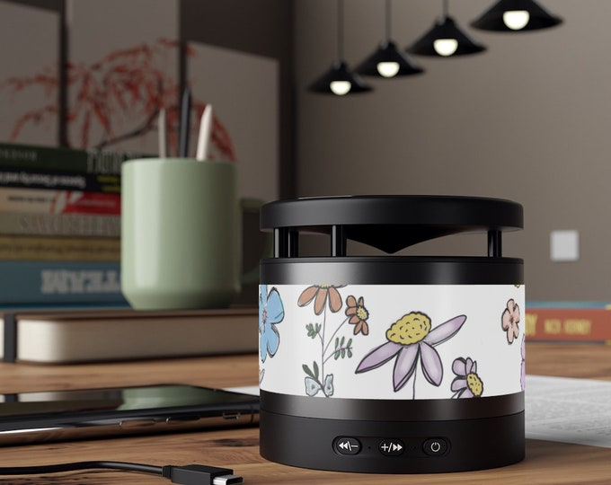 Floral Metal Bluetooth Speaker and Wireless Charging Pad
