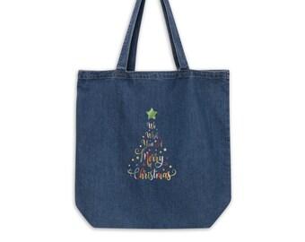 We Wish You a Merry Christmas Bag, Organic denim tote bag