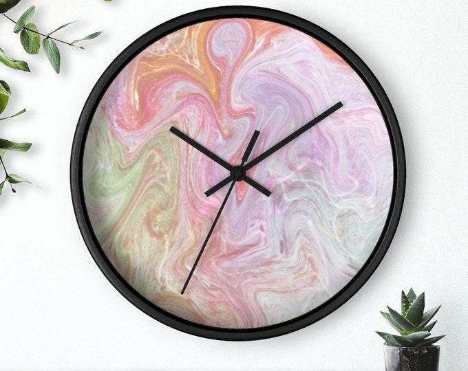 Pink Marble Swirl Wall clock
