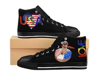 Women's High-top Sneakers (Black with patriotic and chihuahua lover print)