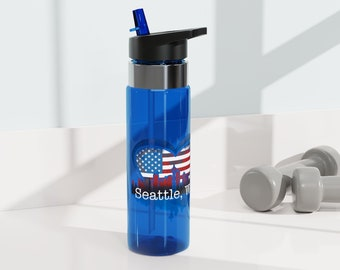 Blue Seattle, WA Water Bottle with Patriotic Colors, 20oz