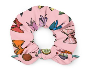 Pink Scrunchie with Multicolored Bow Pattern, Great stocking stuffer, Christmas gift, birthday gift, 80s and 90s throwback costume