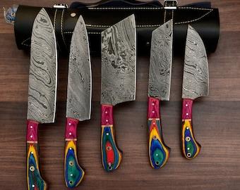Handmade Damascus Chef set Of 5pcs With Leather Cover,Kichten Knife,Damascus Knife Set,Kitchen knives set