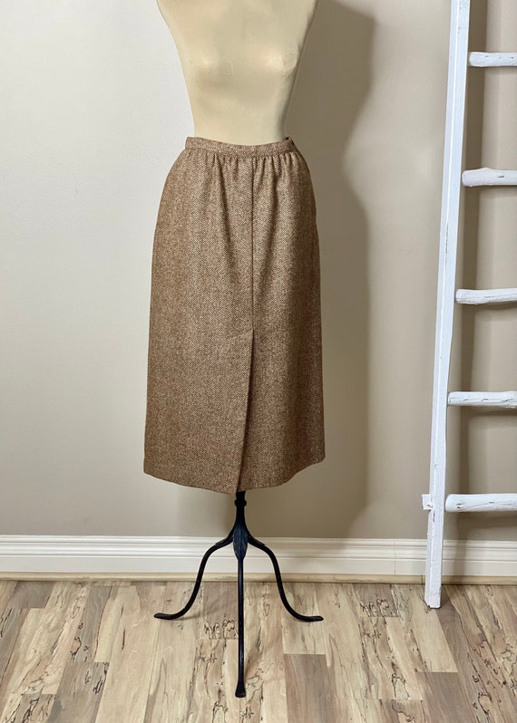 50s Skirt Herringbone  Large Pocket Pencil Skirt Vintage Jackfin