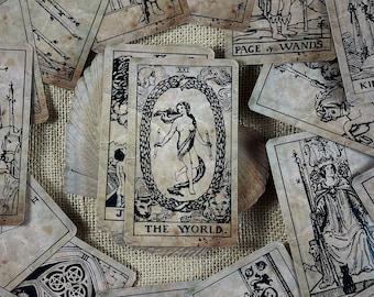Vintage Tarot Deck + Craft Wooden Box 78 cards Guidebook Tarot Gift for Beginners and advance Tarot Cards Tarot Divination
