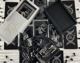 Tarot Deck Rider Waite Black White Tarot cards deck   78 card   Preorder   Guidebook