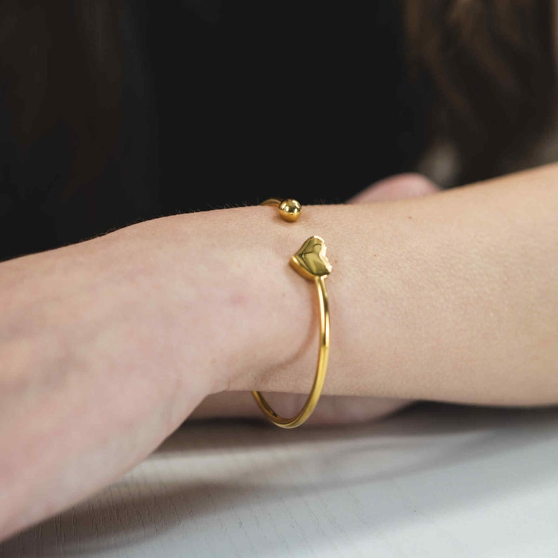 Solid Heart Cuff Bangle in Gold or Silver by Jewelry Lane
