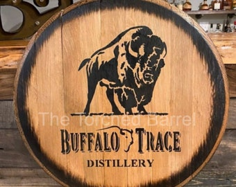 Buffalo Trace   Authentic Bourbon Barrel Head  Rustic Wall Sign   Whiskey Art Decor   Mancave Approved   Round