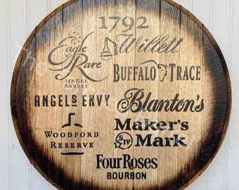 Multi Label, Authentic Bourbon Barrel Head, Rustic Wall Sign, Whiskey Art Décor, Mancave Approved, Round, Barrel Top, Barrel Lid, Bar Sign