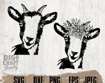 Farm Goat Digital Downloads, Floral Goat Svg, Goat svg, Farm Goat svg, Goat Stencil, farm Animal svg, Floral Animal svg, Farm Goat Png