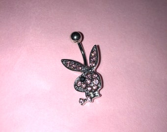 Brand New Pink / Silver Surgical Steel Playboy Bunny Diamanté Charm Belly / Naval Bar