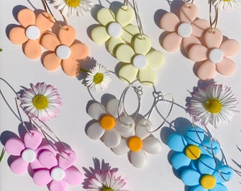 Funky Spring Polymer Clay Hoops