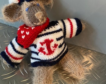 Sweet self-knitted sailor. 25 cm tall