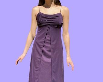 Vintage 90s Lavender Lace Short Sleeve Slip Dress