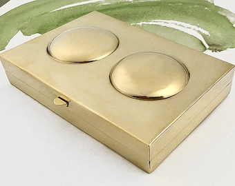Brass Palette, Brass Watercolor Palette, Brass Paintbox, Handmade Brass Palette