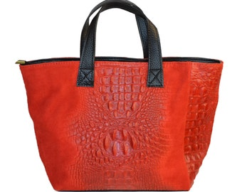 Real leather bag in red color, handmade leather handbag