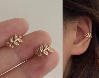 Leaf Ear Cuffs - Ear Cuff No Piercing - Gold Ear Cuffs - Ear Cuff Non Pierced - Ear Crawler Earrings - Conch Piercing  - Fake Piercings