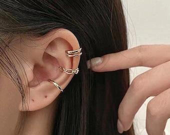 Set Of 3 Ear Cuffs - Ear Cuff No Piercing - Gold Ear Cuffs - Ear Cuff Non Pierced - Ear Crawler Earrings - Conch Piercing  - Fake Piercings