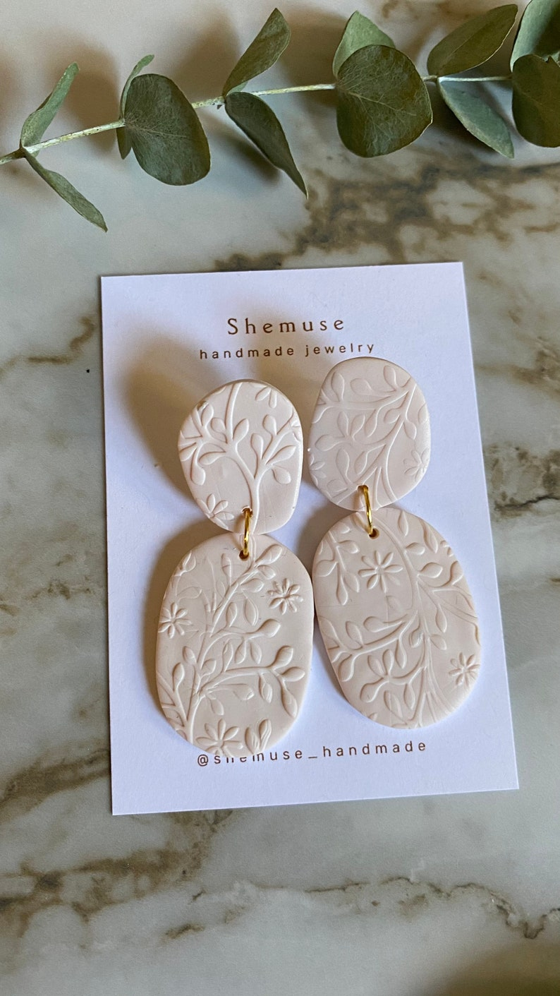 Noah earrings Polymer clay earrings clay earrings floral accessories nickel free polymer clay boho gift for her