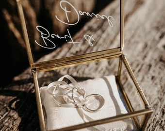 Ring box gold | Ring box made of glass Angular | personalized to the wedding