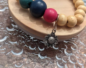 Sunflower Wooden Beaded Bracelet