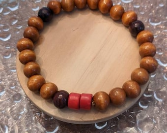 Wooden Beaded Bracelet with Red