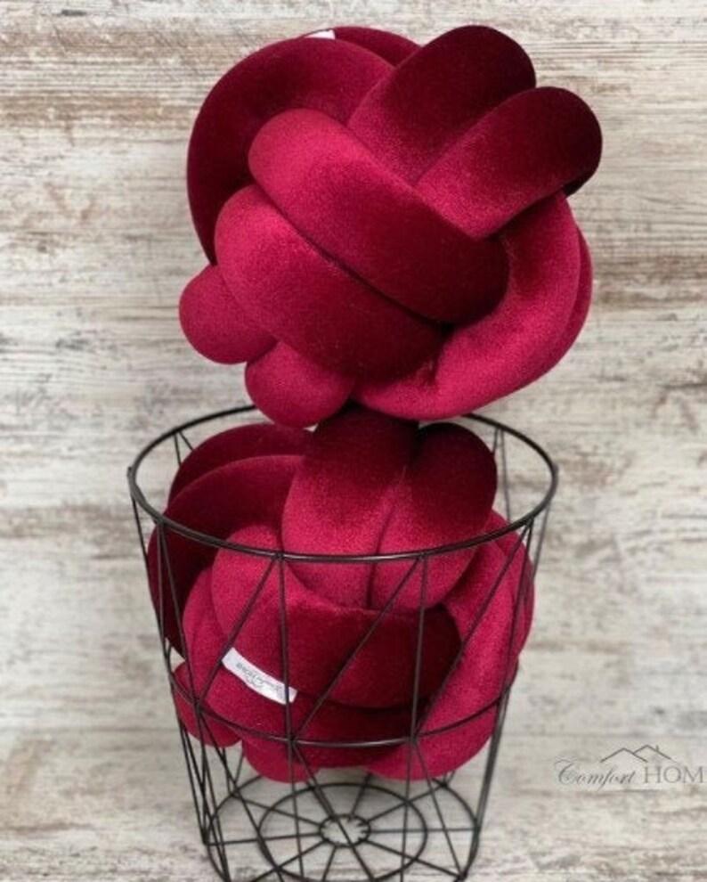Wine Knot Pillow Velvet pillow Home design pillow design knot pillow