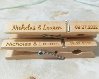 Personalized wooden clothespins Wedding clothespins Party Favor clothespins Customized clothespins Baby shower clothespins Table decor