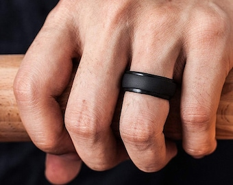 Men Silicone 8mm Rings    Wedding Band    Hypoallergenic    Fitness Rings ** Free Shipping to Canada & US! **