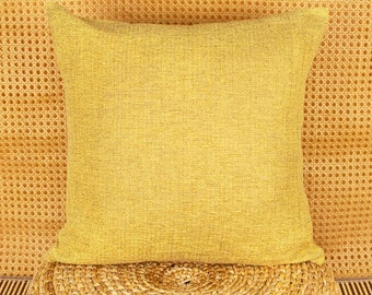 Boho, Modern cushion cover, sofa monochrome cushion covers in yellow made of 100% linen